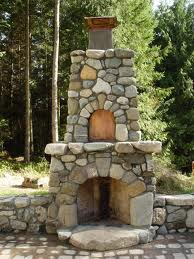 Superb Outdoor Field Stone Fireplace